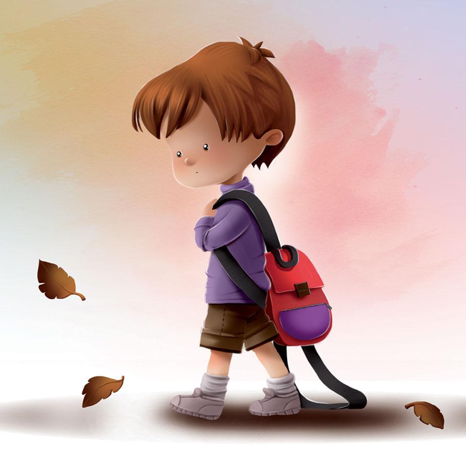 Niño con la mochila del cole